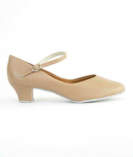 Ch791 Tão Danca Senhoras Caráter Sapatos Latina Salsa Rumba Procuram Sapatos De Tango Com Sola De Couro Cromo, Ampla M, Parágrafo 4 Cm - Snap Botão Caramelo