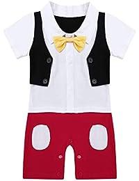 iiniim Bebé Niño Mono Blanco de Caballero Una Pieza Pelele Tuxedo Príncipe Mameluco con Corbata Body