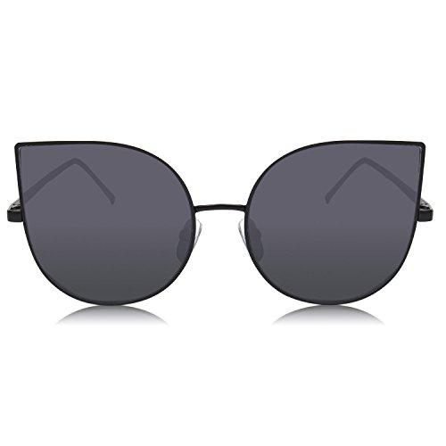 SOJOS Cat occhio lenti a specchio piatto ultra sottile donne Ultra Light struttura in metallo occhiali da sole SJ1022 Con Grigio Lente ZTVYLsu
