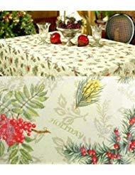 Benson Mills xp-hs144 Tischdecke Holiday Spirits, Jacquard Damast, Tannenzapfen und Beeren -