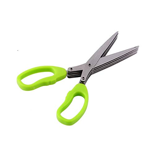 HibiscusElla Stainless Steel 5 Shears Blade Cut Shredding Scissors Herb Kitchen Tool Blade Herb Scissors
