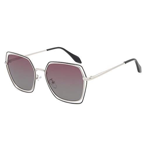 @Y.T Polygonal Sonnenbrille Damen polarisierte Sonnenbrille Hohlsonnenbrille Doppelring UV-Sonnenbrille,C
