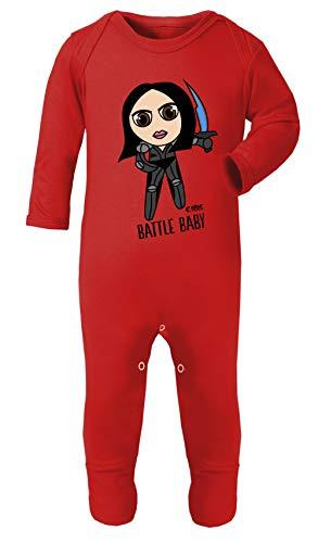 Monat 12 Großbritannien Kostüm 9 - Colour Fashion Alita Battle Baby-Kostüm, Pyjama mit Füßchen, 100% Baumwolle, hypoallergen Gr. 6-12 Monate, rot