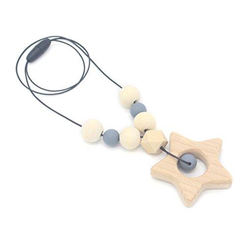 LANDUM Baby Beißring Halskette Silikon Holz Anhänger Perlen Stern Kinderkrankheiten Krankenpflege Spielzeug