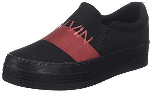 Calvin Klein Jeans Damen Zelma Nylon/Metal Film Sneaker Schwarz (Black Red 000), 41 EU Damen-black Metal