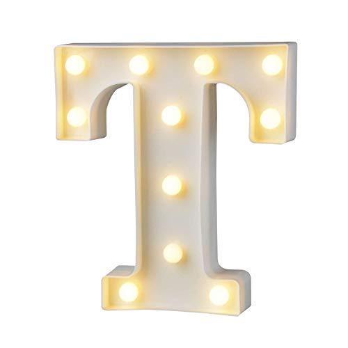 DUBENS LED-Licht Brief Ziffern Lampe Alphabet Buchstabe Nachtlichter (A-Z,0-9) Dekorativer Beleuchtung Lichter, für Geburtstag Party Hochzeit Empfänge Ferienhaus Bar (T)