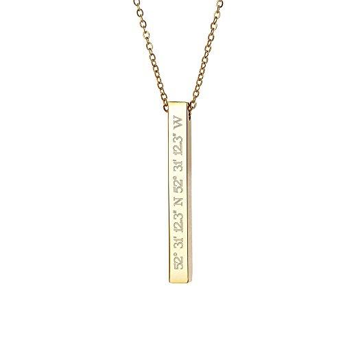Gravado Halskette und Stabanhänger mit Gravur – Edelstahl – Farbe: Gold – Personalisiert mit [Geo-Koordinaten] – GPS – Geschenkbox – Schmuck-Geschenke für Damen – Valentinstag (Gold-halskette Personalisierte)