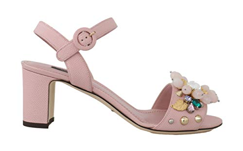 Dolce & Gabbana - Damen Sandalen - Pink Leather Crystal Studded Sandals - EU 39