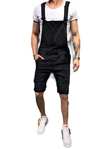 CuteRose Men's Jumpsuit Jeans Slim Casual Denim High Back Bib Overall Black XS Insulated Bib Overall