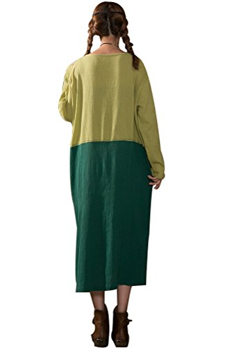MatchLife Femme O-Cou Manches longues Robe Vert