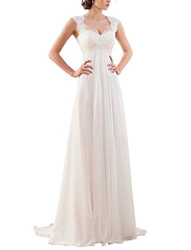 Erosebridal Ärmellos Spitze Chiffon Hochzeitskleid Brautkleid Elfenbein DE56W