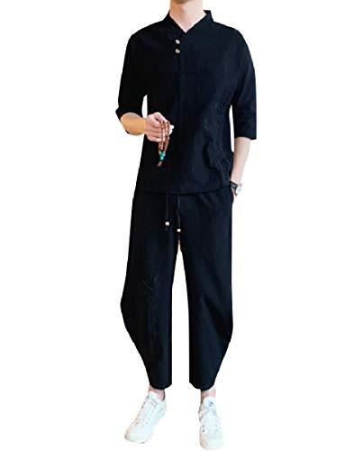 CuteRose Men's Embroidery Cotton Big & Tall Tenths Pants Tracksuit Jog Set 5 2XL