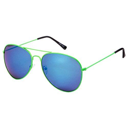 Ciffre EL-Sunprotect® Pilotenbrille Fliegerbrille Sonnenbrille Brille Top Design Neon Grün Blau Verspiegelt
