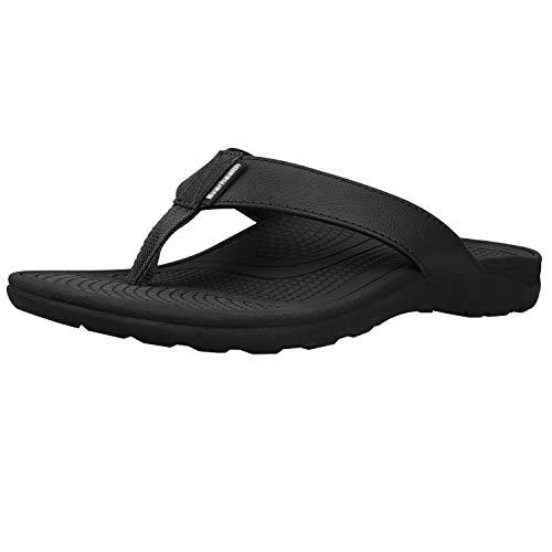 Everhealth infradito uomo ortopediche sandali mare pantofole sportivi ciabatte da spiaggia e piscine, sandali per sostegno dell'arco plantare (black eur 43 / us m's 11 w's 12)