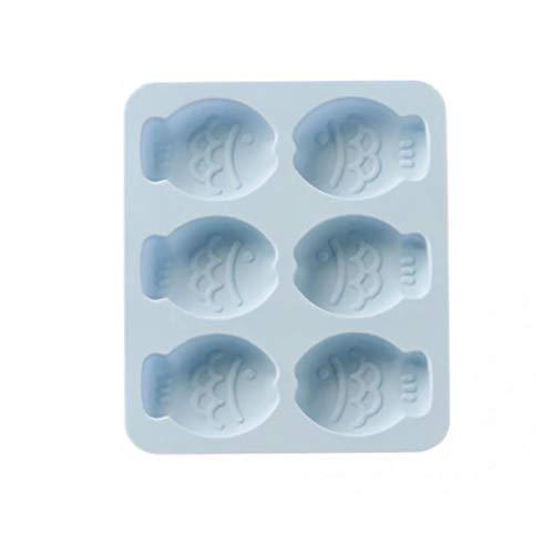 veklblan 1Pcs 6 Loch Cartoon-Fisch-Silikon-Seifen-Formen Kuchen Süßigkeit Schokolade Brot Fudge Küchen-Backen-Form Bakeware Handgemachte Seifenherstellung Mold Blau