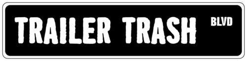 qidushop Straßenschild für Anhänger Trash schwarz Metall Schild für Hausdeko kein Rost Sicherheit Schild für Hauswand -