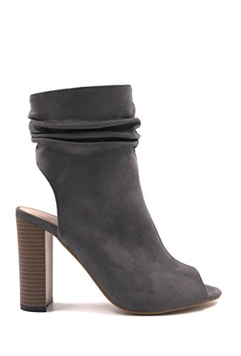 CHIC NANA . Chaussure Femme Mode Bottines peep toes en style daim.