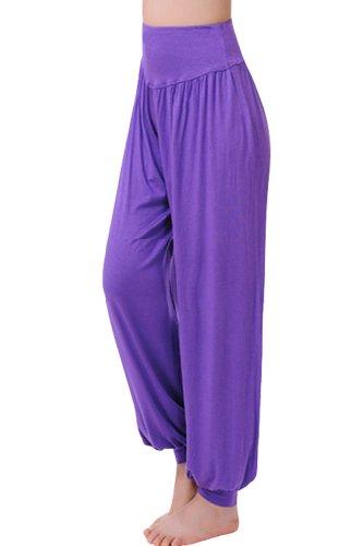 Amour - da donna Ali Baba Harem Modal Sports vestiti morbida da donna Yoga Wear mutandoni pantaloni Purple