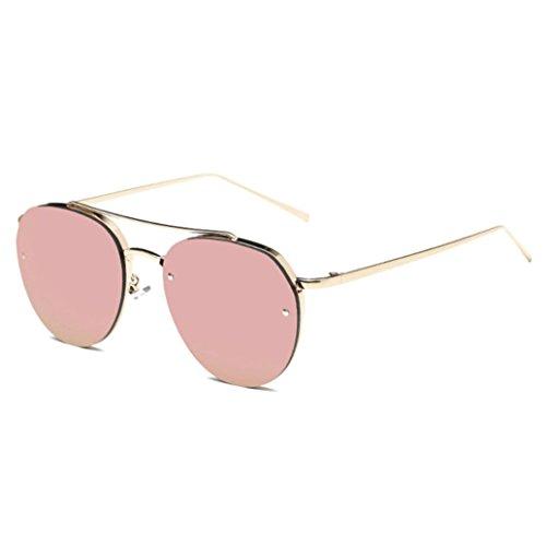 HLHN 2017 Neue Herren Damen Vintage Retro Persönlichkeit Runde Rahmen Trendy Metall Sonnenbrille (RoseGold)