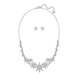 Swarovski Damen-Schmuckset Halskette + Ohrringe Platiniert Kristall transparent Rundschliff-5253053