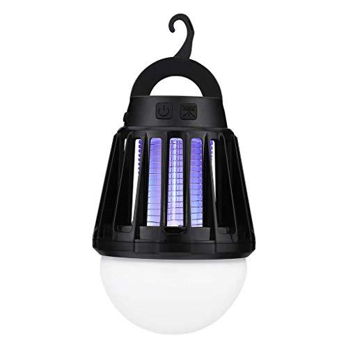 XHHXPY Moskito Lampe, Moskito Killer Licht Bug Zapper UV Insektenfalle,Elektrisch Mückenfalle, 2-in-1 Elektrischer Insektenvernichter Insektenlampe Camping Akku Zelt Laterne für Innen Außen,Black -