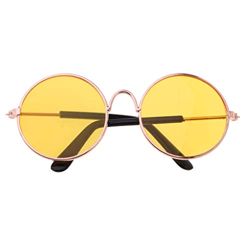 ro Hippy Round Brille Golden Frame Eyewear Für Salon Doll ACCS - Gelb ()