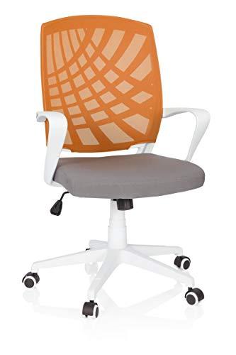 Orange Stoff Mit Einem Ergonomischen Stuhl (hjh OFFICE 621976 Home-Office Drehstuhl Spring Stoff Grau/Orange bequemer Bürostuhl mit Netzrücken)