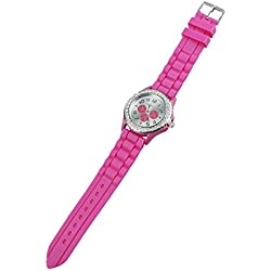 TOOGOO(R) Women's Crystals Rubber Silicone Gel Jelly Watch Rose-red