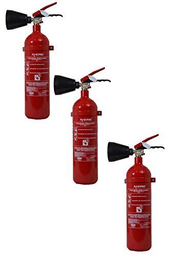 Feuerlöscher 3X 2kg CO² Kohlendioxid EDV geeignet DIN EN 3 inkl. ANDRIS® Prüfnachweis mit Jahresmarke ISO-Symbolschild