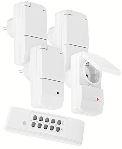 mumbi 4er Set Outdoor Funksteckdosen weiß - 4 x Funksteckdose für Aussen + 1 x Fernbedienung - Plug & Play - 1100 Watt