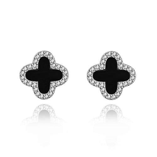 LEIU 925 reinen weißen Nagelpilz schwarzer Onyx vierblättrigen Rasen Ohrstecker Ohrringe