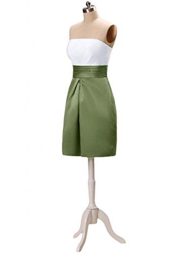 Sunvary Modisch Traegerlos Abendkleider Kurz Satin Cocktailkleider Partykleider Fuchsia