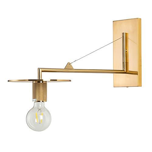 DEPAOSHJ Schwarzes Gold 2 Farben-industrielle Wind-Studie kann 180 ° Wandlampe Schlafzimmer-Nachtwand-Wandlampe 2 Sätze einfache moderne Wohnzimmer-Sofa-Wandlampe schwingen (Color : Metallic-1 pack) -