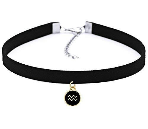 TISDA Black Velvet Choker Necklace Gothic with Zodiac Signs Pendant for Girls Women 12 Constellations