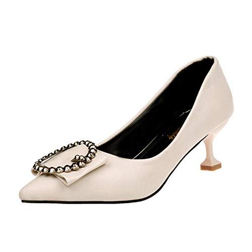 UFACE Damen Stiletto Spitze One-Shoulder-Schuhe Arbeitsschuhe Shallow Spitz Toe Sandalen Knöchel High Thin Heels Party Jobs Single Schuhe(Beige,39EU)