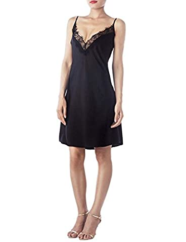 iB-iP Women's Spaghetti Strap Lace Neck Fit & Flare Mid-Thigh Chemise Lingerie, Size: L, Black