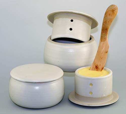 original französische wassergekühlte keramik butterdose, nie mehr harte butter zum frühstück, ca 250 gr butter, weiß matt B-G -