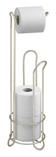 mDesign Portarrollos de pie con cesta para papel higiénico – Elegante portarrollos sin taladro de acero inoxidable – Almacenaje de baño para 3 rollos de papel higiénico – Plateado / satinado