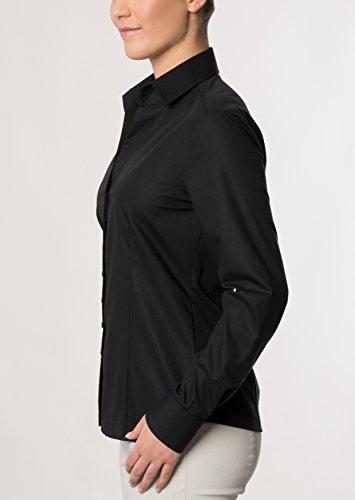 eterna Langarm Bluse Modern Classic Unifarben Schwarz