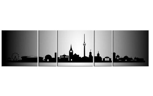 TOP Bild auf Leinwand CITY PANORAMA Stuttgart Silber 5 TEILE DIGITAL Arts AP500036 Bilder fertig bespannt auf Keilrahmen. Kunstwerk als Wandbild auf Rahmen. GRÖßE WÄHLEN! GÜNSTIGER ALS Ölbild Gemälde Poster Plakat mit Bilderrahmen! MADE IN GERMANY