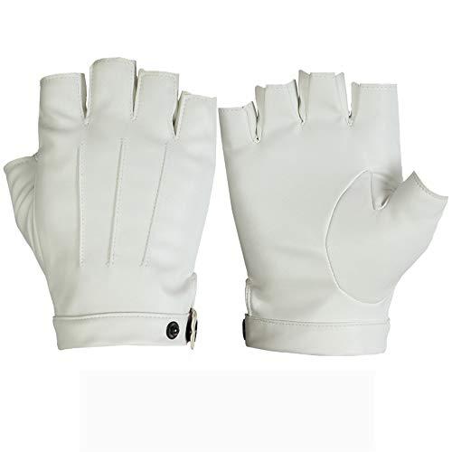 Pomety Sommer Herren pu Leder halbfingerhandschuhe Outdoor Sports reiten Fahren Bergsteigen fitnessgeräte Handschuhe dünn (Color : White)
