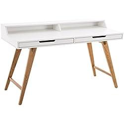 CLP Escritorio EATON con tablero de madera MDF y patas en madera de roble, con 2 cajones 140 x 60 cm