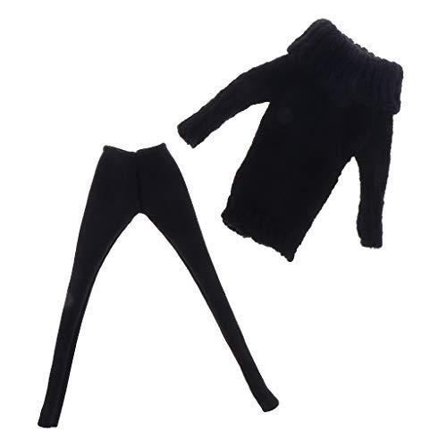 Toygogo 2-TLG Puppe Kleidung Pullover & Lederhose Herbst Bekleidung Für 12 Zoll Blythe-Puppen - Schwarz