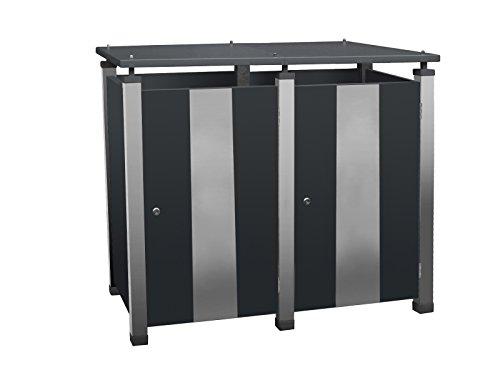 Mülltonnenboxen Metall, Modell Pacco E Quad17 für zwei 240 ltr. Tonnen