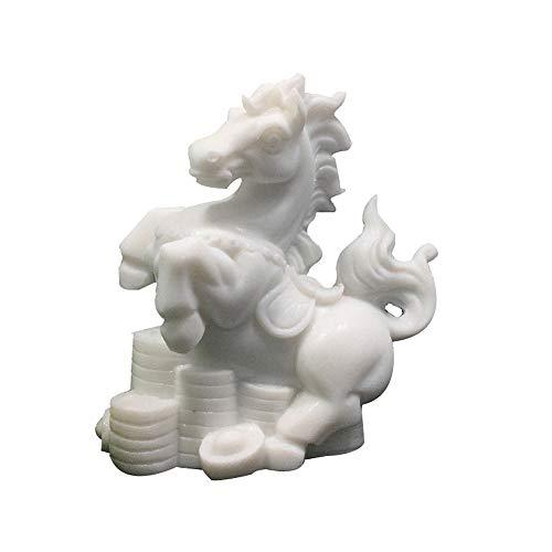 LINGS Pferdestatuen Weißer Marmor Stein Wächter, Chinesisches Sternzeichen Feng Shui Dekor, Für Zuhause Und Büro Reichtum Und Viel Glück, Beste Einweihungsparty Glückwunschgeschenk - Feng Shui Marmor