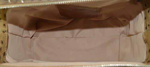 CTM Borsetta a mano stampa struzzo da donna in vera pelle made in Italy 26x18x13 Cm Fango