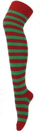 Red and Green Striped Christmas Socks