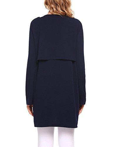 Modfine Damen Maxi Offene Cardigan Shirtjacke Asymmetrisch Oversize Strickmantel Jacke Figurschmeichler mit Tasche Marineblau