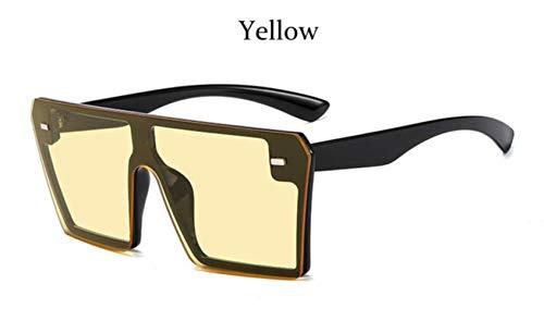Cranky Orange Fashion Quadrat Sonnenbrille Übergroße Frauen Randlose Spiegel Marke Große Sonnenbrille Weiblich Schwarz Schattierungen Männer Flat Top Unisex, Yelloe