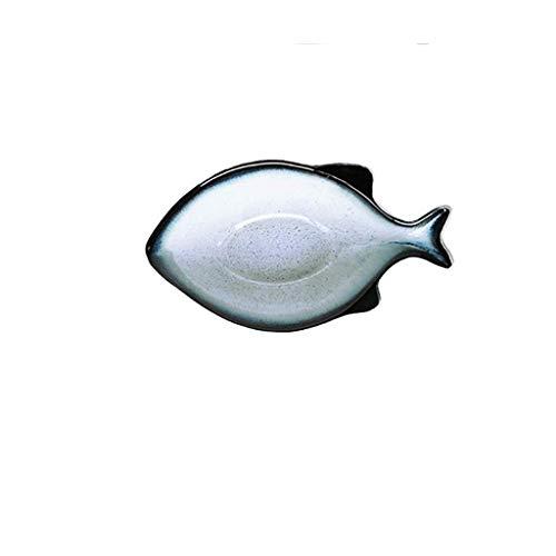 JYTBD Restaurant liefert Keramikschale Fischform Dessert Salatteller Family Restaurant Dish Tray Diätutensilien Geschirrschale (Größe: S) Home Kitchen Supplies (Size : S) - Mit Löffel Dessert-schalen